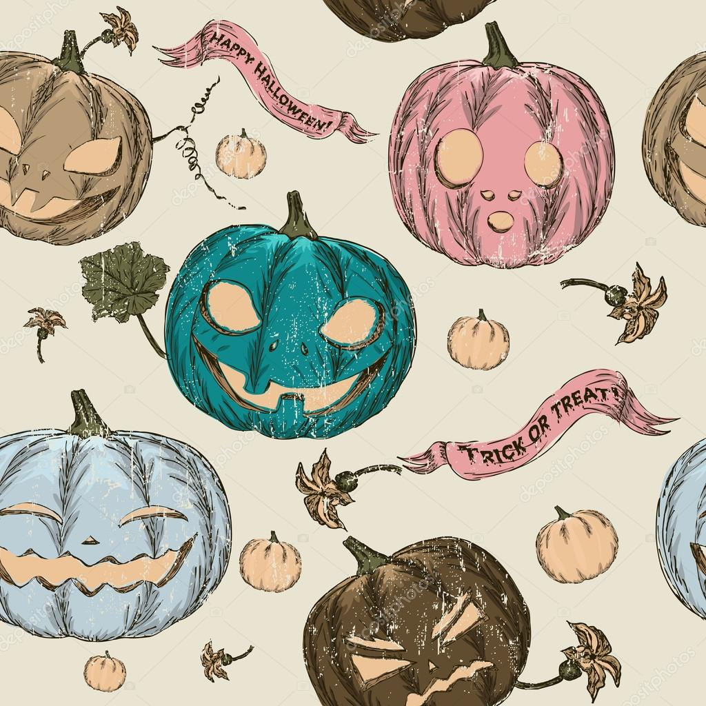 Halloween seamless background with pumpkin. Vector illustration EPS8  Stock Vector #13608817