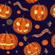 Halloween seamless background with pumpkin. — ベクター素材ストック