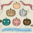Six isolated Halloween pumpkins set. — Vettoriali Stock