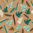 Seamless texture with pastel colors leaves. — Imagen vectorial