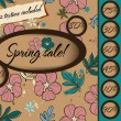 Spring sale poster with seamless texture. — Stockvectorbeeld