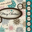 Marry Christmas poster with seamless texture. — Stockvectorbeeld