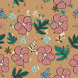 Seamless texture with pink flower. — ベクター素材ストック