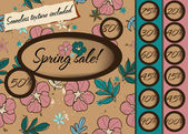 Spring sale poster with seamless texture. — Stock Vector