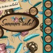 Summer sale poster with seamless texture. — Stockvektor