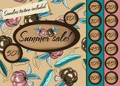 Summer sale poster with seamless texture. — Stock Vector