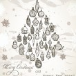 Vintage Christmas card with snowflakes. - Stock Vector