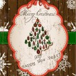 Vintage Christmas card, red and green. - Imagen vectorial