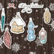 Poster with vintage Christmas decorations — Stockvectorbeeld