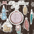 Poster with vintage Christmas decorations — Imagen vectorial