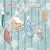 Poster with vintage Christmas decorations — Cтоковый вектор