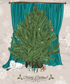 Vintage Christmas card with Christmas tree. — Vector de stock