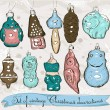 Set of real vintage Christmas decorations 1. — Stock Vector