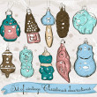 Set of real vintage Christmas decorations 1. - Stock Vector