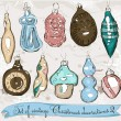 Set of real vintage Christmas decorations 2. — Imagen vectorial
