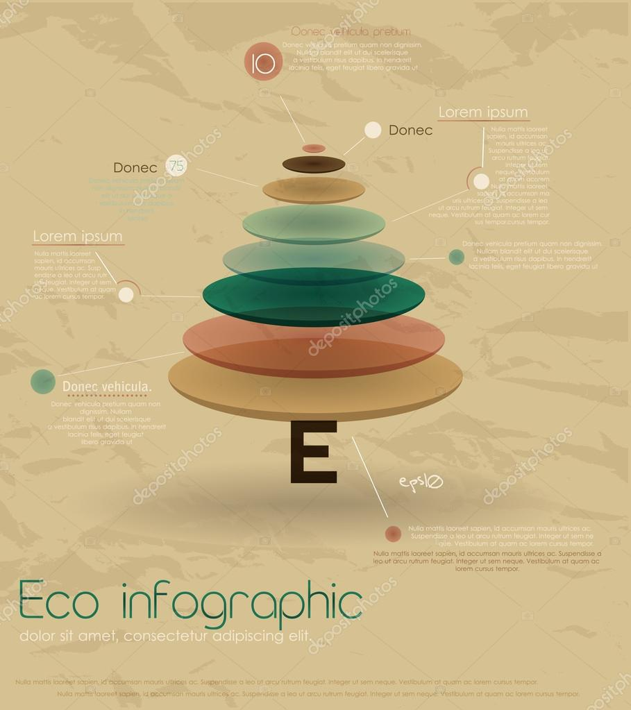 Vintage eco infographic with fir-tree. Vector illustration EPS10 — Stock Vector #17152669