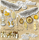 Poster with vintage Christmas decorations . — ストックベクタ