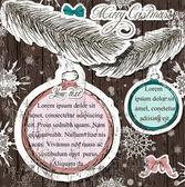 ビンテージ クリスマスの装飾とポスター. — ストックベクタ