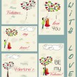 Set of vintage cards about love. — Stock Vector