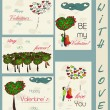Set of vintage cards about love. — Vettoriali Stock