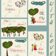 Set of vintage cards about love. — Stockvectorbeeld