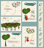 Zbiór starych kart o miłości. — Wektor stockowy