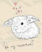 かわいい動物とヴィンテージのロマンチックなカード. — ストックベクタ