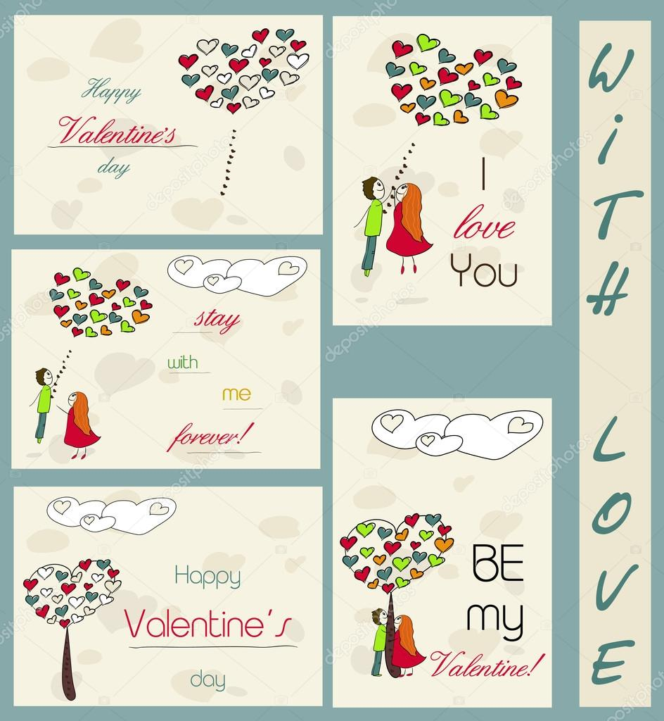 Set of vintage cards about love. Vector illustration EPS8 — Stock Vector #19296111
