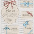 Set of vintage gift bows. — Vector de stock #19331829