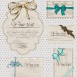 Set of vintage gift bows. — Vettoriali Stock