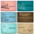 Set of vintage transport cards. - Stock Vector