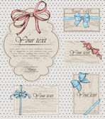 Set of vintage gift bows. — Vector de stock