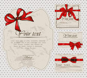 Set of vintage gift bows. — Stock Vector