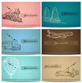 Set of vintage transport cards. — Stock Vector