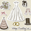Vintage wedding set. — Stock Vector