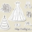 Vintage wedding set. — Vector de stock #20263835