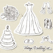 Stock Vector: Vintage wedding set.