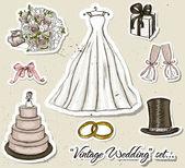 Vintage wedding set. — Stock Vector