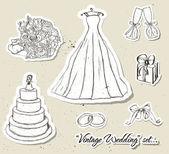 Vintage bruiloft set. — Stockvector