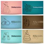 Vintage wedding invitation cards set. — Stock Vector
