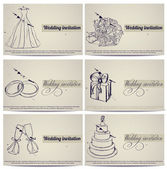 Vintage bröllop inbjudningskort set. — Stockvektor