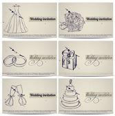 Set di biglietti invito matrimonio vintage. — Vettoriale Stock