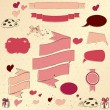 Set of vintage deign elements about love. - Stock Vector