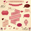 Set of vintage deign elements about love. - Stockvectorbeeld