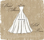 Vintage poster with beautiful wedding dress. — Vector de stock