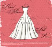Vintage poster with beautiful wedding dress. — Cтоковый вектор