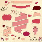 Set di vintage degnati di elementi sull'amore. — Vettoriale Stock