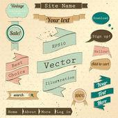 Vintage web tasarım öğeleri kümesi. — Stok Vektör