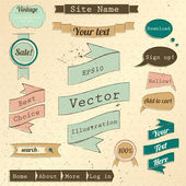 Vintage website design elements set. — Vettoriale Stock