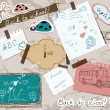 Scrapbooking set with school elements. — Stok Vektör